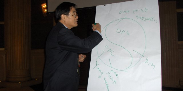 Workshop: Mr. Li Baowen (CN) explaining the TnPM Strategy, based on the Chinese philosophy.