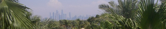 Dubai behind the palms.