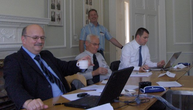 Meeting of the European Training Committee<BR>  Mladen Jakovci, HR; Vaclav Legat, CZ and Tomás Hladik, CZ; behind Robert O'Connor, IE<BR>  New item: e-learning